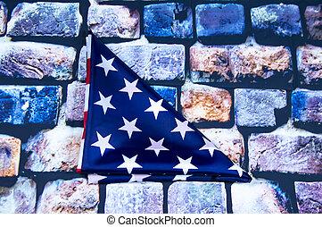 合併した, 三角形, 壁, 折られる, 州, 旗, 背景, れんが, アメリカ