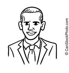 合併した, 単純である, いたずら書き, states., 漫画, barack, 白, 黒, vector., 大統領, 線, 風刺漫画, 図画, obama