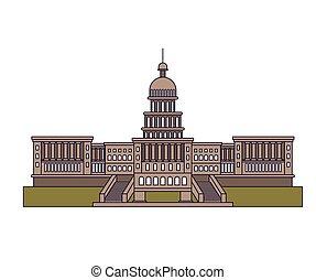 合併した, 国会議事堂, 隔離された, 州, デザイン, アイコン