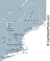 合併した, 政治的である, 州, 新しい, 地域, 地図, イギリス\, 灰色