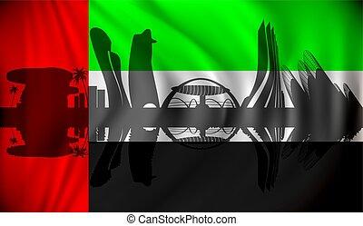 合併した, 旗, アラビア人, スカイライン, dhabi, 管轄区域, abu
