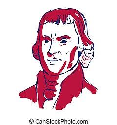 合併した, 第3, jefferson, states., 著者, 独立, 宣言, ベクトル, illustration., 大統領, 1(人・つ), thomas