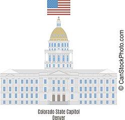 合併した, colorado, 州, 州, デンバー, アメリカ, 建物, 国会議事堂