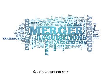 合併, acquisitions, 単語, 雲, &