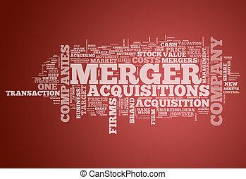 合并, acquisitions, 词汇, 云, &