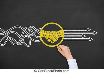 合意, 解決, 黒板, 概念
