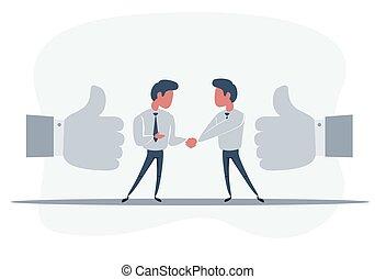 合意, partnership., 取引, icon., 握手, よい, 平ら, 概念, スタイル, パートナー, デザイン, ビジネス