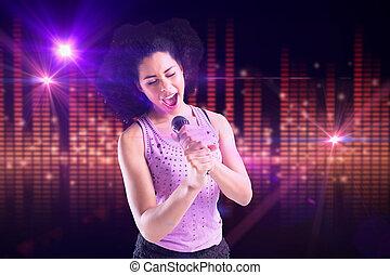 合成の イメージ, の, かわいい少女, 歌うこと