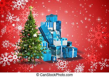 合成の イメージ, の, クリスマスツリー, そして, プレゼント