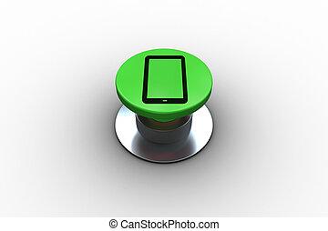 合成の イメージ, の, デジタルタブレット, グラフィック, 上に, ボタン