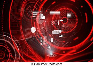 合成の イメージ, の, データ, 技術, 背景