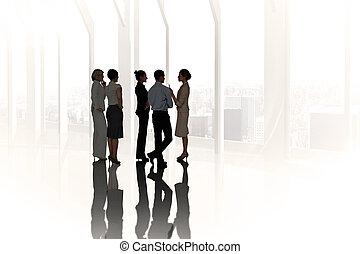 合成の イメージ, の, ビジネス 同僚, 話し