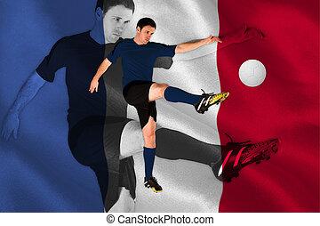 合成の イメージ, の, フットボール選手, 中に, 赤, ける
