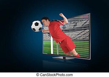 合成の イメージ, の, フットボール選手, 中に, 赤, ヘッディング, ボール, によって, tv, に対して, 青い背景, ∥で∥, ビネット