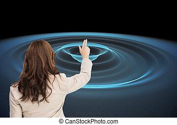 合成の イメージ, の, ブルネット, 女性実業家の地位, 背中, カメラに