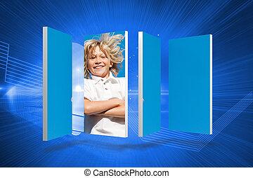 合成の イメージ, の, ブロンド, 男の子, 上に, 抽象的, スクリーン