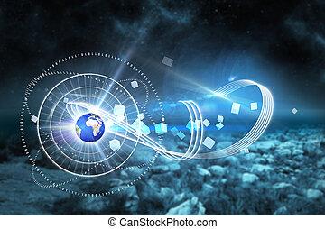 合成の イメージ, の, 世界的である, 技術, 背景