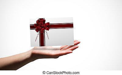 合成の イメージ, の, 女性手, 提出すること, a, カード
