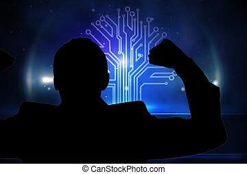 合成の イメージ, の, 技術, 背景