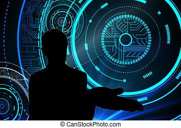 合成の イメージ, の, 未来派, 技術的である, 背景