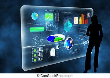 合成の イメージ, の, 未来派, 技術, インターフェイス
