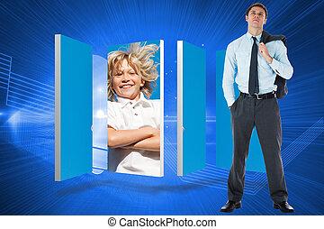 合成の イメージ, の, 深刻, ビジネスマン, 保有物, 彼の, ジャケット