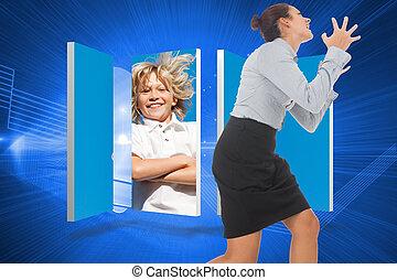 合成の イメージ, の, 激怒している, 女性実業家, ジェスチャーで表現する