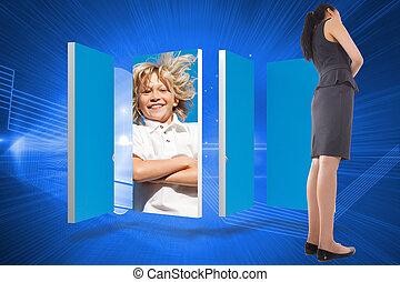 合成の イメージ, の, 考え, アジア人, 女性実業家