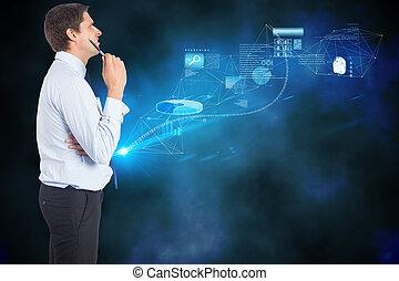 合成の イメージ, の, 考え, ビジネスマン, 保有物のペン