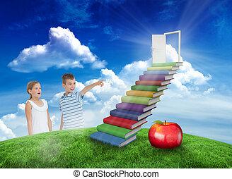 合成の イメージ, の, 若い少年, 提示, 何か, へ, 彼の, 姉妹