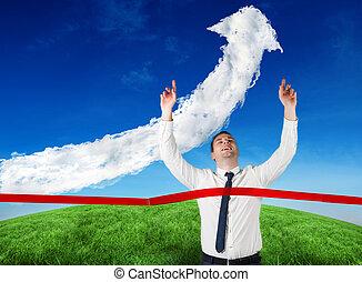 合成の イメージ, 交差, ビジネスマン, 線, 仕上げ