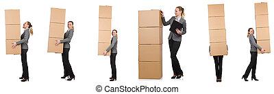 合成の イメージ, 女, 箱, 白