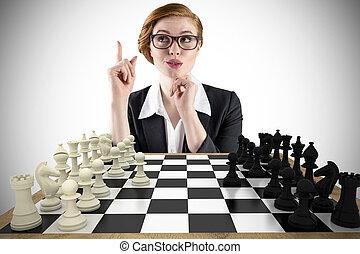 合成の イメージ, redhead, 女性実業家, 考え
