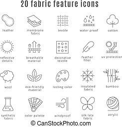 合成物, 生地, 防水, 快適さ, 特徴, icons., つまらない人, ウエア, サイン, 線, 羊毛, 衣類, ...