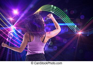 合成的影像, ......的, 漂亮的女孩, 唱