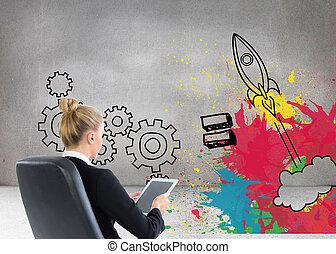 合成的影像, ......的, 白膚金髮, 從事工商業的女性, 坐, 上, 轉椅, 由于, 片劑
