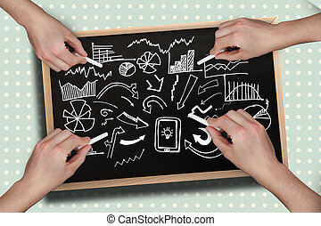 合成, チョーク, 多数, 手, 図画, ひらめき, イメージ