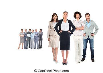 合成, チーム, ビジネス, 見る, カメラ, イメージ