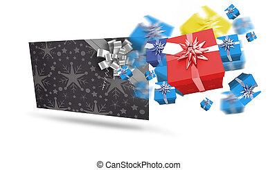 合成, プレゼント, クリスマス, イメージ, 飛行