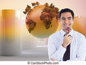 合成, 保有物 ガラス, 微笑, ビジネスマン, イメージ
