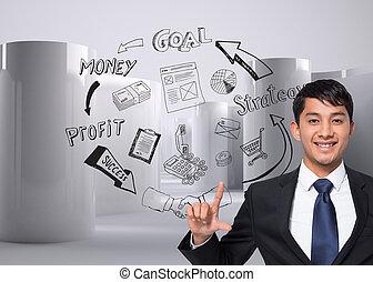合成, 保有物, 微笑, ビジネスマン, イメージ