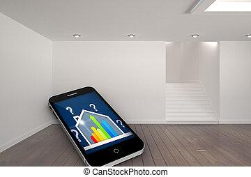 合成, 家, スクリーン, 評価, ber, イメージ, smartphone