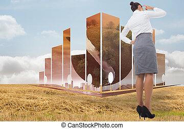 合成, 彼女, 頭, かく, 女性実業家, イメージ