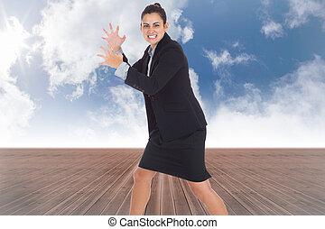合成, 怒る, 女性実業家, イメージ, ジェスチャーで表現する