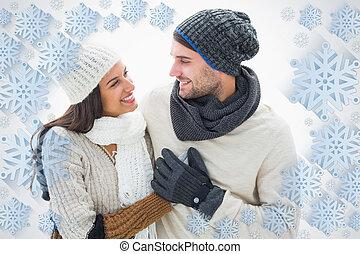 合成, 恋人, 暖かい, 魅力的, イメージ, 衣服, 若い