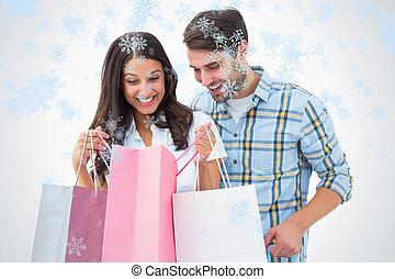 合成, 恋人, 魅力的, 袋, 買い物, イメージ, 若い