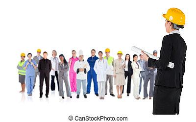 合成, 懸命に, 微笑, イメージ, 帽子, 建築家