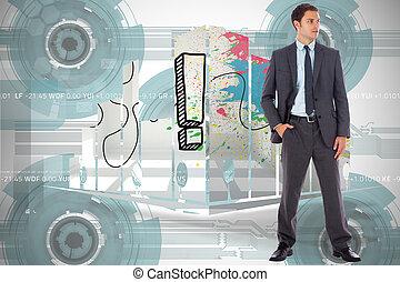 合成, 手, ポケット, ビジネスマン, イメージ, 深刻