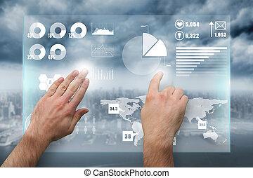 合成, 手, 提出すること, イメージ, 指すこと