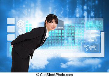 合成, 曲がること, 微笑, 女性実業家, イメージ